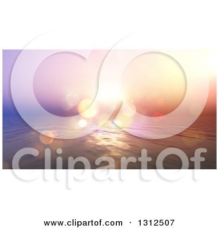 Clipart of a 3d Vintage Effect Ocean Sunset with Flares and Blur - Royalty Free Illustration by KJ Pargeter