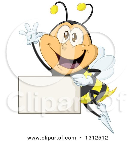 Clipart of a Cartoon Happy Bee Waving and Flying with a Blank Sign - Royalty Free Vector Illustration by Liron Peer