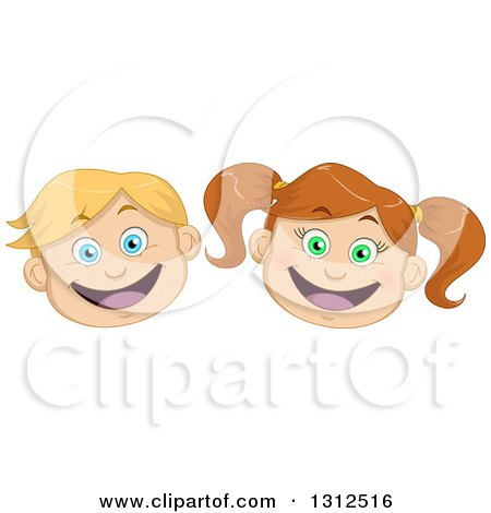 Clipart of Happy Excited Caucasian Child Faces - Royalty Free Vector Illustration by Liron Peer