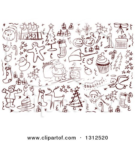Clipart of Sketched Christmas Item Doodles - Royalty Free Vector Illustration by Liron Peer