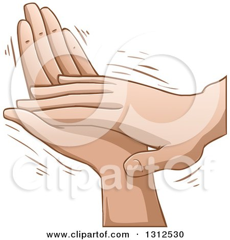 Clipart of Cartoon Clapping Caucasian Hands - Royalty Free Vector Illustration by Liron Peer