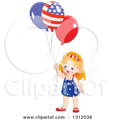 Clipart Of A Cute Strawberry Blond White Girl Holding Patriotic Independence Day American Balloons Royalty Free Vector Illustration