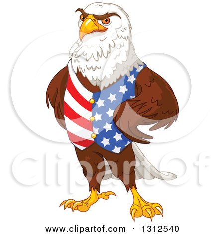 Clipart of a Handsome Bald Eagle Wearing an American Vest and Standing with Hands on His Hips - Royalty Free Vector Illustration by Pushkin