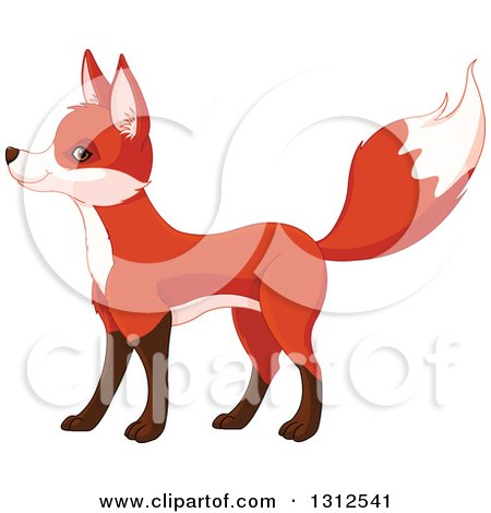 Clipart of a Cute Fox Standing and Facing Left - Royalty Free Vector Illustration by Pushkin