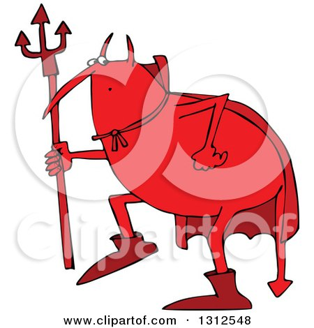 Clipart of a Cartoon Fat Red Devil Creeping Around and Holding a Pitchfork - Royalty Free Vector Illustration by djart
