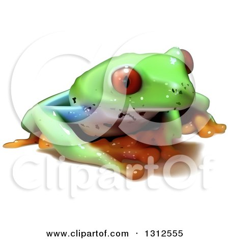 Clipart of a 3d Cute Red Eyed Tree Frog - Royalty Free Vector Illustration by dero