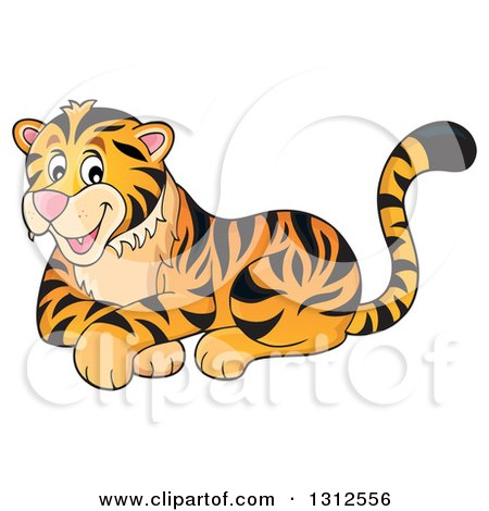 Clipart of a Cartoon Happy Resting Tiger - Royalty Free Vector Illustration by visekart