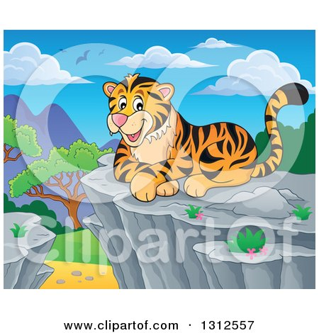 Clipart of a Cartoon Happy Tiger Resting on a Bluff Against a Day Landscape - Royalty Free Vector Illustration by visekart