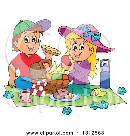 Clipart of a Cartoon White Boy and Girl Eating at a Picnic - Royalty Free Vector Illustration by visekart