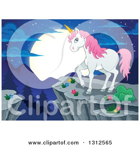 Clipart of a Cartoon White Unicorn with Pink Hair, Standing on a Cliff over Mountains, a Forest and Full Moon at Night - Royalty Free Vector Illustration by visekart