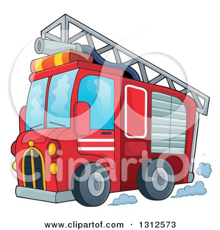 Clipart of a Cartoon Red Fire Truck with a Ladder and Hose on the Top - Royalty Free Vector Illustration by visekart