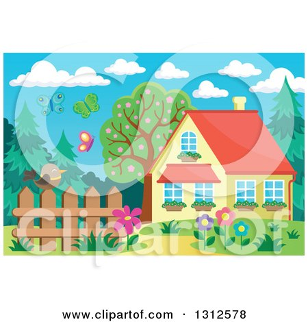 Clipart of a Bird on a Fence, Garden, Butterflies and House - Royalty Free Vector Illustration by visekart