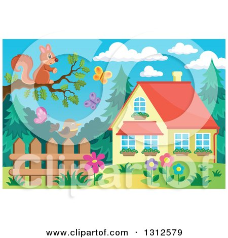 Clipart of a Squirrel on a Tree Branch over a Bird on a Fence, Garden, Butterflies and House - Royalty Free Vector Illustration by visekart