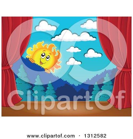 Clipart of a Happy Summer Sun Looking over Mountains and a Forest Stage Set with Red Curtains - Royalty Free Vector Illustration by visekart