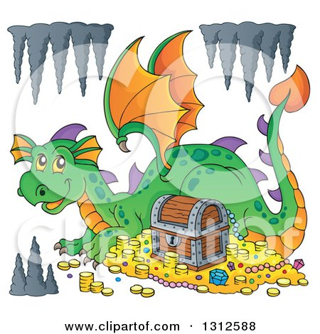Clipart of a Cartoon Green Dragon Resting by Treasure with Formations - Royalty Free Vector Illustration by visekart