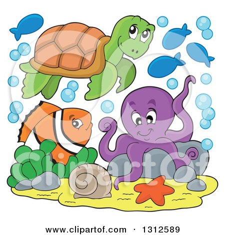 Clipart of a Cartoon Sea Turtle, Anenome Fish and Octopus - Royalty Free Vector Illustration by visekart