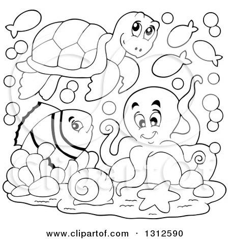 Clipart Happy Swimming Sea Turtle