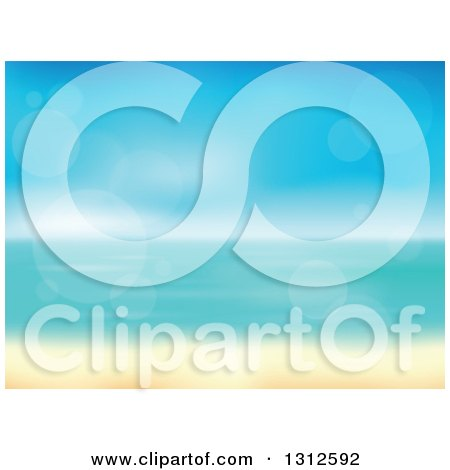Clipart of a Tropical Beach with White Sands and the Horizon over the Ocean, with Blur and Flares - Royalty Free Vector Illustration by visekart