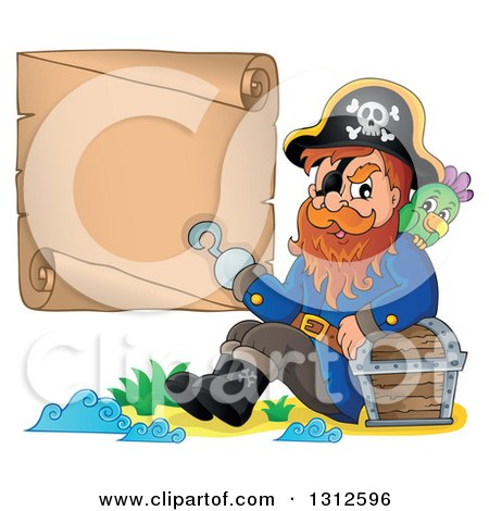 Clipart of a Cartoon Pirate Captain with a Parrot, Leaning Against a Treasure Chest and Presenting a Blank Scroll with His Hook Hand on an Island - Royalty Free Vector Illustration by visekart
