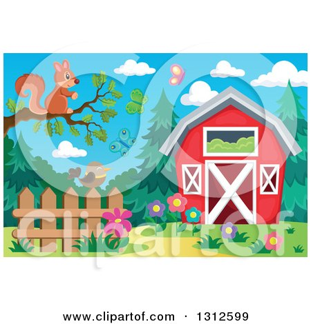 Clipart of a Squirrel on a Tree Branch over a Bird on a Fence, Garden, Butterflies and Barn - Royalty Free Vector Illustration by visekart