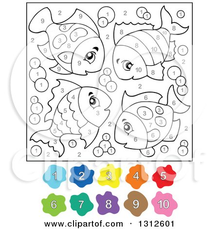 RoyaltyFree RF Clipart of Color By Numbers Illustrations Vector Graphics 1