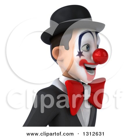 Clipart of a 3d Avatar of a White and Black Clown Facing Right - Royalty Free Illustration by Julos