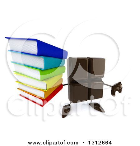 Clipart of a 3d Chocolate Candy Bar Character Holding up a Thumb down and Stack of Books - Royalty Free Illustration by Julos