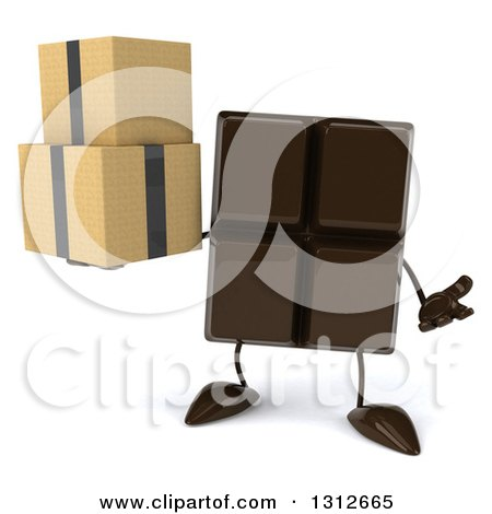 Clipart of a 3d Chocolate Candy Bar Character Shrugging and Holding Boxes - Royalty Free Illustration by Julos
