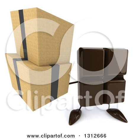 Clipart of a 3d Chocolate Candy Bar Character Holding up Boxes - Royalty Free Illustration by Julos
