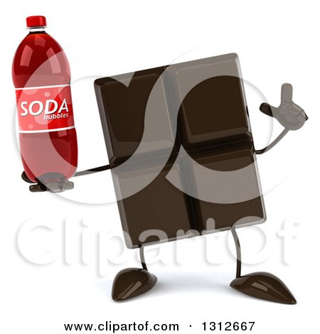 Clipart of a 3d Chocolate Candy Bar Character Holding up a Finger and a Soda Bottle - Royalty Free Illustration by Julos