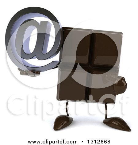 Clipart of a 3d Chocolate Candy Bar Character Holding and Pointing to an Email Arobase at Symbol - Royalty Free Illustration by Julos