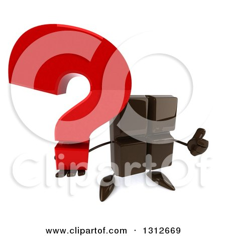 Clipart of a 3d Chocolate Candy Bar Character Holding up a Question Mark and Thumb - Royalty Free Illustration by Julos