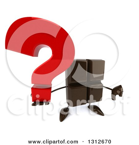 Clipart of a 3d Chocolate Candy Bar Character Holding up a Question Mark and Thumb down - Royalty Free Illustration by Julos