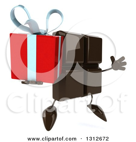 Clipart of a 3d Chocolate Candy Bar Character Facing Slightly Left, Jumping and Holding a Gift - Royalty Free Illustration by Julos