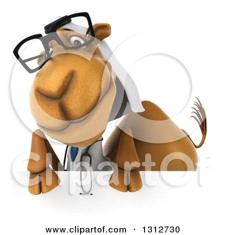 Clipart of a 3d Bespectacled Arabian Doctor Camel over a Sign - Royalty Free Illustration by Julos