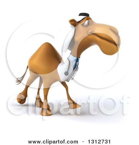 Clipart of a 3d Bespectacled Arabian Doctor Camel Walking Slightly to the Right 2 - Royalty Free Illustration by Julos