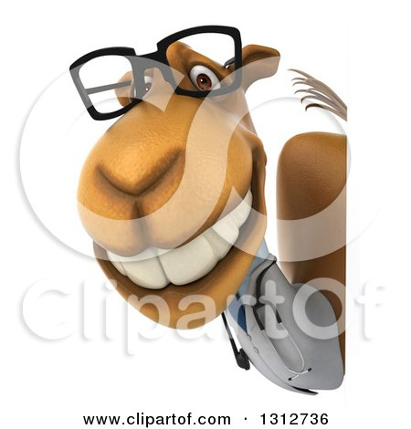 Clipart of a 3d Bespectacled Doctor Camel Smiling Around a Sign - Royalty Free Illustration by Julos