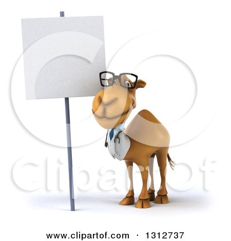 Clipart of a 3d Bespectacled Doctor Camel by a Blank Sign - Royalty Free Illustration by Julos