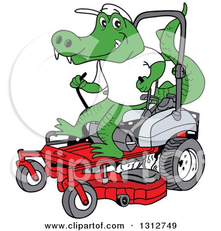 Clipart of a Cartoon Alligator Operating a Red Riding Lawn Mower - Royalty Free Vector Illustration by LaffToon