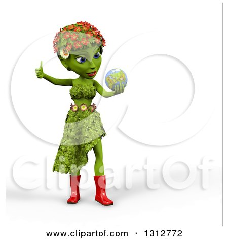 Clipart of a 3d Green Nature Woman Wearing Leaves and Flowers, Giving a Thumb Up, Holding and Looking at Earth, over White with Shading - Royalty Free Illustration by Michael Schmeling