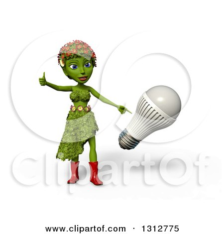Clipart of a 3d Green Nature Woman Wearing Leaves and Flowers, Giving a Thumb up and Pointing to an LED Light Bulb, over White with Shading - Royalty Free Illustration by Michael Schmeling