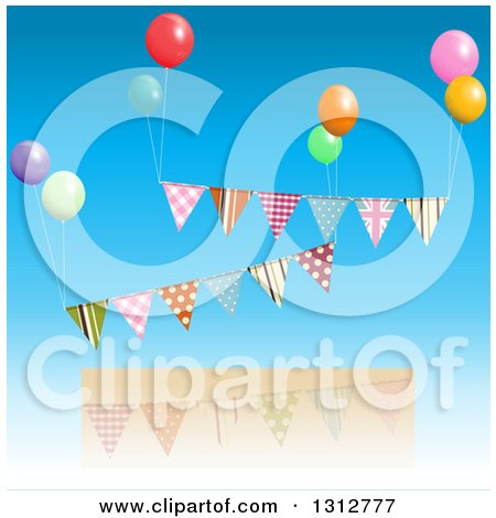 Clipart of a Patterned Bunting Banners Floating with Colorful Party Balloons over a Frame and Blue Sky - Royalty Free Vector Illustration by elaineitalia