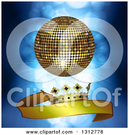 Clipart of a 3d Gold Disco Ball over a Gold Crown and Ribbon Banner over Blue Lights and Flares - Royalty Free Vector Illustration by elaineitalia