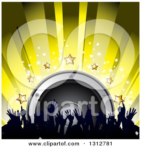 Clipart of a 3d Music Speaker with Stars, Yellow Rays and Silhouetted Hands from a Dancing Crowd - Royalty Free Vector Illustration by elaineitalia