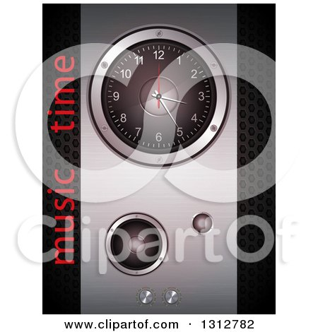 Clipart of a 3d Metal Speaker and Clock Panel over Perforated Metal with Music Time Text - Royalty Free Vector Illustration by elaineitalia