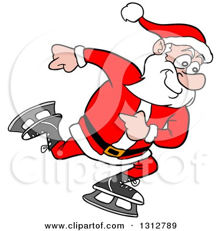 Clipart of a Cartoon Santa Claus Ice Skating - Royalty Free Vector Illustration by LaffToon