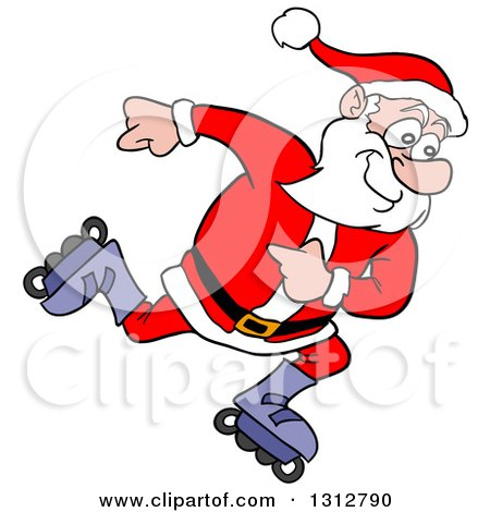 Clipart of a Cartoon Santa Claus Inline Skating - Royalty Free Vector Illustration by LaffToon