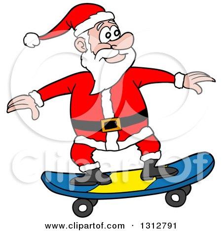 Clipart of a Cartoon Santa Claus Skateboarding - Royalty Free Vector Illustration by LaffToon