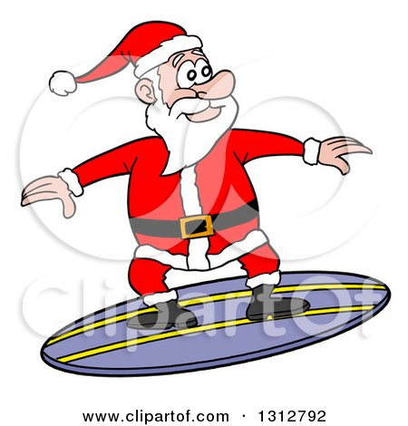 Clipart of a Cartoon Santa Claus Surfing - Royalty Free Vector Illustration by LaffToon