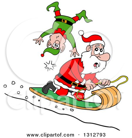 Clipart of a Cartoon Santa Claus Toboganning and Running over an Elf - Royalty Free Vector Illustration by LaffToon